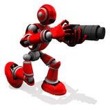 Robot Red Color-Haltung des Fotograf-3D mit flacher Kamera Stockfotografie