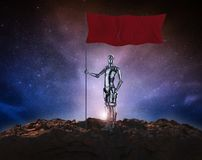 Robot with red flag. Leadership concept with 3d rendering humanoid robot with red flag