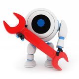 Robot and red key Royalty Free Stock Photos