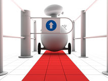 Robot on red path and gate. Robot going through a gate with an arrow following a red path Royalty Free Stock Image