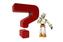 Robot with red question mark,3D illustration. Robot with red question mark 3D illustration vector illustration