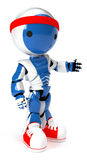 Robot with red shoes and headband ready to run Royalty Free Stock Photo