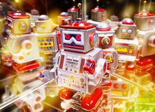 Robot with reflections and bokeh stock photography