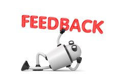 Robot is in a relaxed position holds the word - Feedback Stock Photos