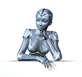 Robot Relaxing on an Edge royalty free illustration
