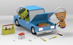 Robot repair car render Royalty Free Stock Image