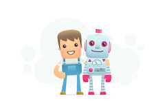 Robot repair. Funny cartoon conceptual illustration with characters Stock Images
