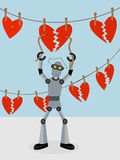 Robot repairing strings of broken hearts. Robotic repairman mending strings of broken hearts hanging from clothespins Stock Images