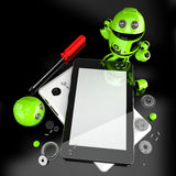 Robot repairing tablet computer. Contains clipping path of screen and entire scene Royalty Free Stock Images