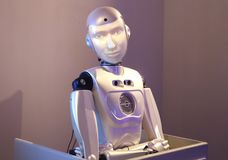 Robot repeating the facial expressions of the person looking at it Royalty Free Stock Photos