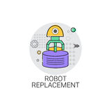 Robot Replacement Machinery Industrial Automation Industry Production Icon. Vector Illustration Royalty Free Stock Images