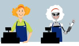 Robot replacing a human. Young woman and a robot working cash register at the store as a metaphor for automation or e-commerce, EPS 8 vector illustration stock illustration