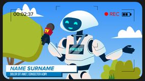 Robot Reporter Makes A Video Report Vector. Isolated Illustration vector illustration