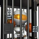 Robot represso dalla prigione È spese false gridanti illustrazione vettoriale