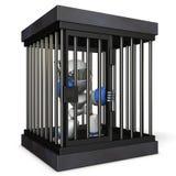 Robot represso dalla prigione È spese false gridanti illustrazione di stock