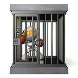 Robot restrained by prison. He is shouting false charges. 3D illustration vector illustration