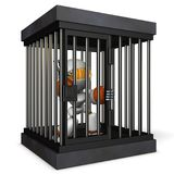Robot restrained by prison. He is shouting false charges. 3D illustration royalty free illustration