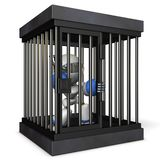 Robot restrained by prison. He is shouting false charges. 3D illustration stock illustration