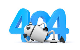 Robot rests next to the numbers 404 - Page Not Found Error 404. 3d illustration Stock Image