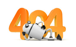 Robot rests next to the numbers 404 - Page Not Found Error 404 Royalty Free Stock Images