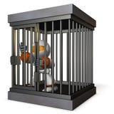 Robot retenu par la prison Il est les frais faux de cri illustration libre de droits