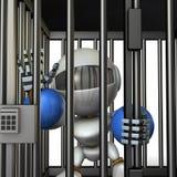 Robot retenu par la prison Il est les frais faux de cri illustration stock