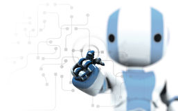 Robot reviewing circuitry stock illustration