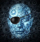 Robot revolution. Technology concept as a mechanical human as a bionic person with artificial intelligence or AI computing ability wearing a pirate eyepatch or royalty free illustration