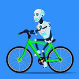Robot Riding A Bicycle Vector. Isolated Illustration. Robot Riding A Bicycle Vector. Illustration royalty free illustration