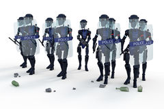 Robot Riot Police Stock Photography