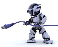 Robot with RJ45 network cable Royalty Free Stock Photos