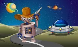 A robot at the road with a spaceship in the outerspace Royalty Free Stock Image