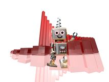 Robot robi in front of success diagram Royalty Free Stock Images