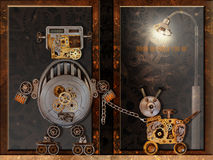 The robot and the robot dog go for a walk. Funny robots out of old parts and machinery. Collage in the style of steam-punk stock image