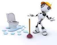 Robot robot plumber fixing a leak Royalty Free Stock Photos