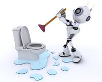 Robot robot plumber fixing a leak Royalty Free Stock Images