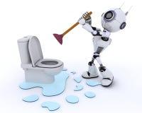 Robot robot plumber fixing a leak Royalty Free Stock Images