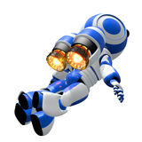 Robot Robot Rocketeer Flying with Burning Jets Royalty Free Stock Images