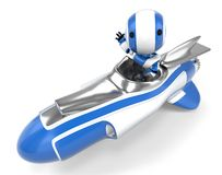 Robot in rocket vehicle waving. Stock Images