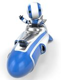 Robot in rocket waving. Royalty Free Stock Photography