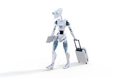 Robot with Roller Suitcase Stock Photos