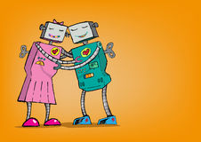 Robot Romance. Android Love Concept. Hugging Each Other. Two Robots with hearts are hugging each other as if they are really in love. vector and jpg stock illustration
