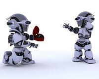 Robot with romantic gift Royalty Free Stock Photo