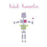 Robot romantic. Love, he has a big heart sensitive. vector illustration Royalty Free Stock Photos