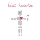 Robot romantic. Love, he has a big heart sensitive. vector illustration Stock Photos