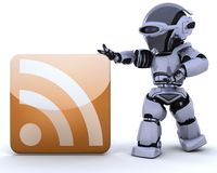 Robot with RSS icon Royalty Free Stock Image