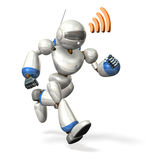Robot running while communicating Stock Photos
