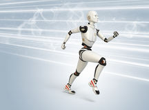 Robot running at high speed Royalty Free Stock Image