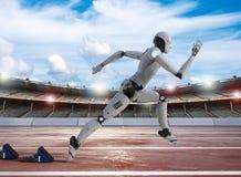 Robot running on racecourse. 3d rendering robot running on racecourse in stadium vector illustration