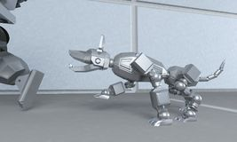 Robot runs away from the dog on the space corridor. 3D rendering vector illustration